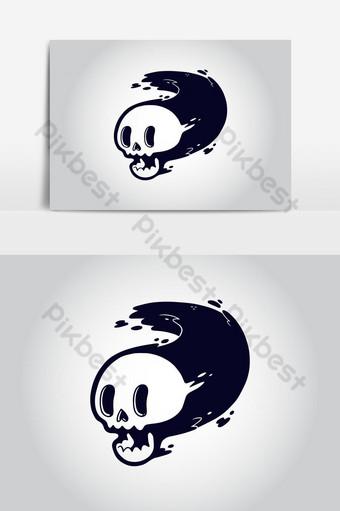 diseño de vector de dibujos animados de cráneo para camiseta Elementos graficos Modelo AI