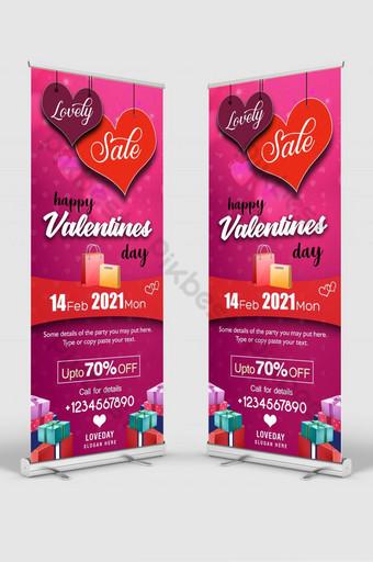 plantilla de banner de standee de señalización de venta de san valentín de corazones colgantes Modelo PSD