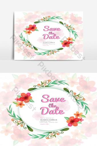 Modèle de vecteur de printemps Concept d'invitation de mariage Design floral aquarelle Éléments graphiques Modèle AI