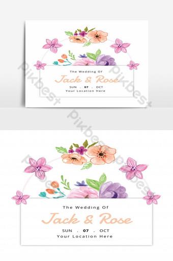 Concept d'invitation de mariage de vecteur de printemps Design floral aquarelle Éléments graphiques Modèle AI