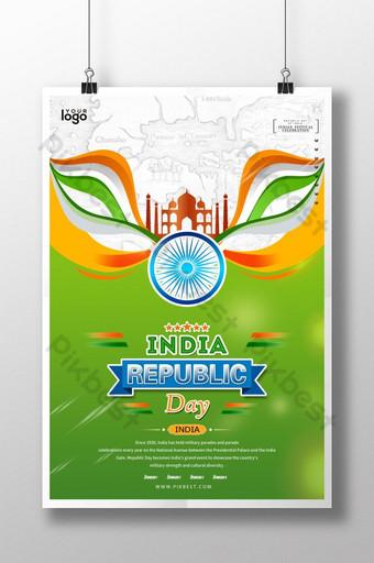 ملصق يوم الجمهورية الهندية الخضراء الطازجة قالب PSD
