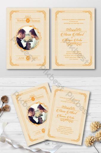 Invitation de mariage élégant avec beau fond Modèle PSD