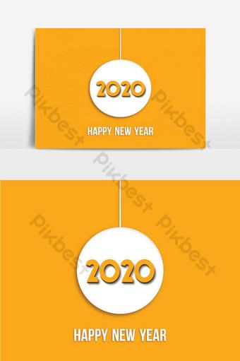 feliz año nuevo línea curva 2020 diseño de palabras Elementos graficos Modelo AI