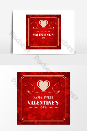 Tarjeta de San Valentín con vector de fondo de patrón rojo Elementos graficos Modelo AI