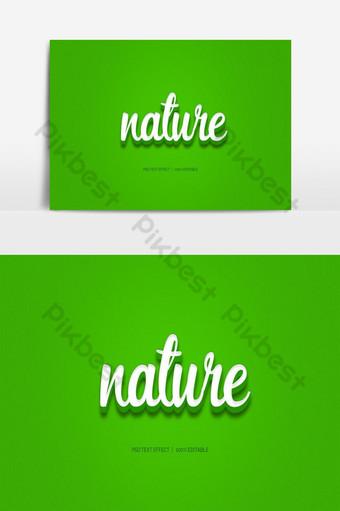 naturaleza 3d colorido psd efecto de texto editable completo Elementos graficos Modelo PSD