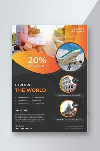 Modèle de flyer d'agence de voyage touristique Modèle AI