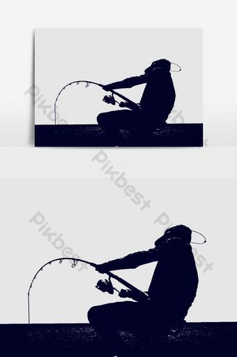 plantilla de diseño de gráficos vectoriales de silueta de pescador Elementos graficos Modelo AI