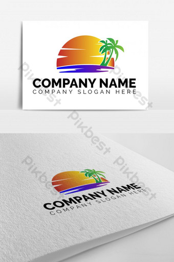 sea beach sunset logo design Template EPS