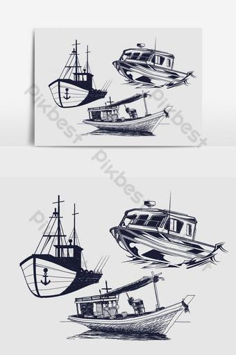 Vecteur de croquis de bateau de pêche et de bateau Éléments graphiques Modèle AI