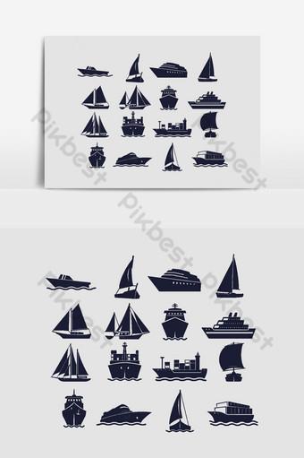 Velero y barco marino siluetas gráficos vectoriales Elementos graficos Modelo AI