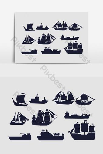 mar barco siluetas gráficos vectoriales Elementos graficos Modelo AI