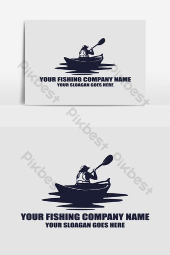 Modèle de conception de logo personnalisé de pêche Éléments graphiques Modèle AI