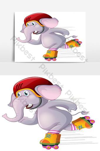 Ilustración de vector blanco de patinaje de elefante gris Elementos graficos Modelo EPS