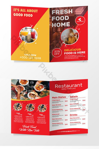 ресторан красный складной дизайн брошюры шаблон AI