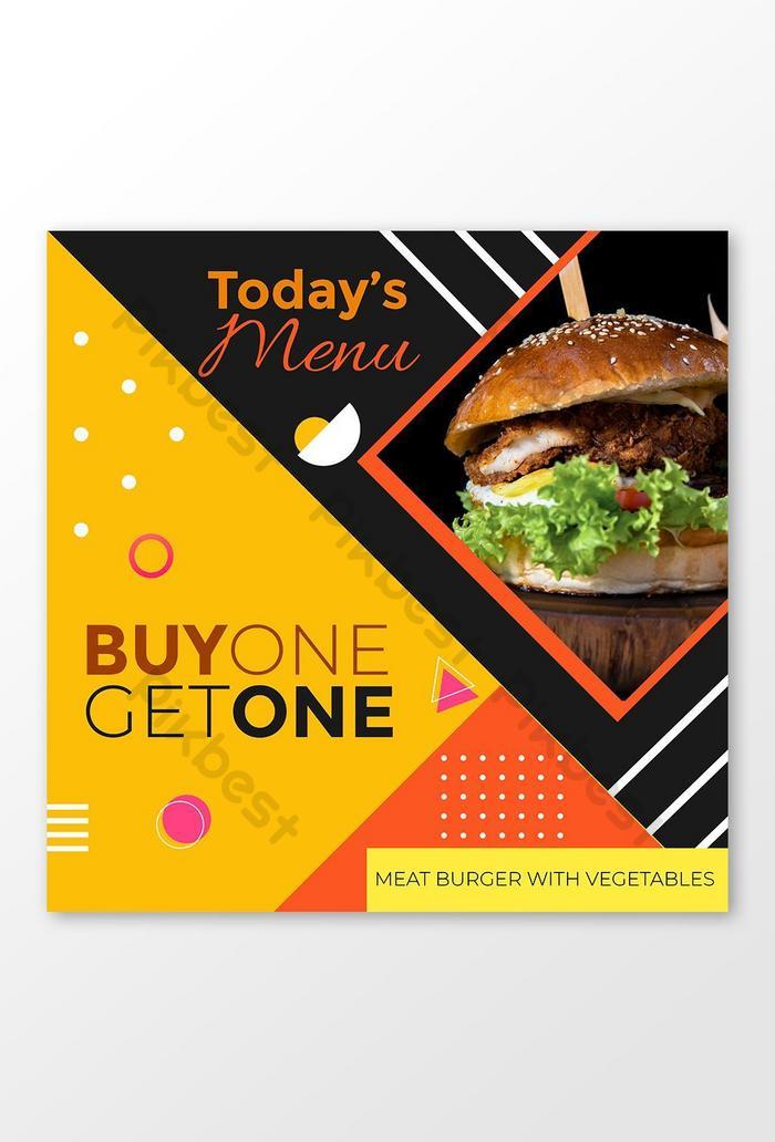 compre um leve outro menu especial de fast food com modelo de banner do instagram com desconto