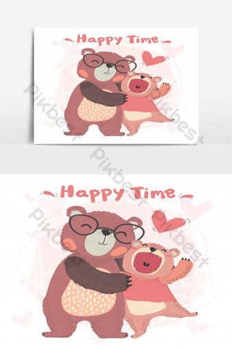 vecteur plat mignon papa heureux et fils ours en peluche sourire câlin avec carte de valentine temps heureux Éléments graphiques Modèle AI