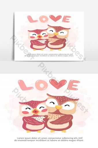 vector plano linda pareja feliz otoño búho sonrisa abrazo con amor palabra tarjeta de san valentín lindo un Elementos graficos Modelo AI