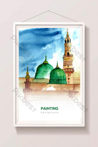 Bức tranh vẽ tay rất đẹp và rất sáng tạo về nhà thờ Hồi giáo Minh họa Bản mẫu AI