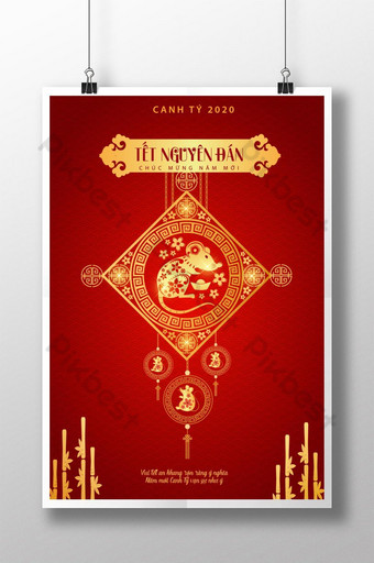 happy new year 2020 year of the pig posters vietnam new year clear meaning Template AI