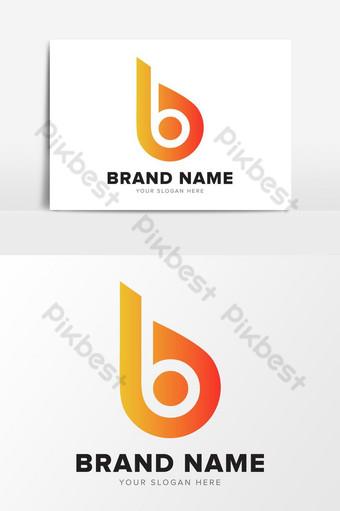 Letra b rueda de ciclo abstracto elementos gráficos de diseño de logotipo naranja Elementos graficos Modelo EPS