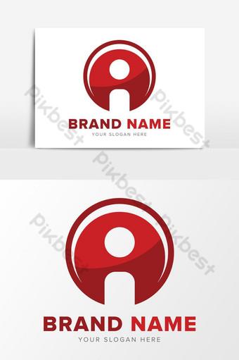 Letra i tecnología de red abstracto rojo diseño de logotipo elementos gráficos Elementos graficos Modelo EPS