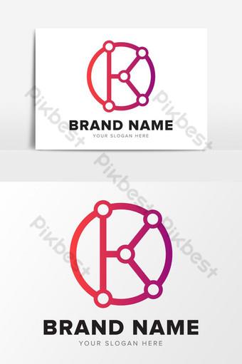 Letra k tecnología resumen color rosa logo diseño elementos gráficos Elementos graficos Modelo EPS