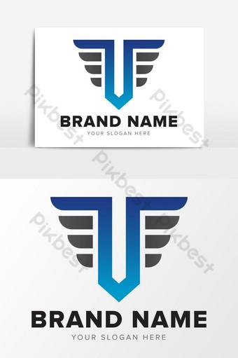 Letra t educación elementos gráficos de diseño de logotipo azul y negro abstracto Elementos graficos Modelo EPS