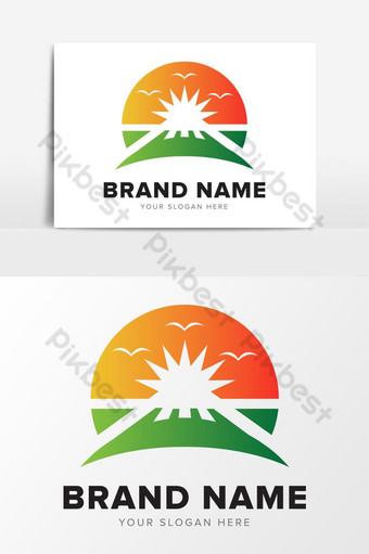 sol playa diseño de logotipo abstracto elementos gráficos Elementos graficos Modelo EPS
