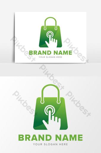 Boutique de commerce électronique en ligne Éléments graphiques de conception de logo abstrait Éléments graphiques Modèle EPS