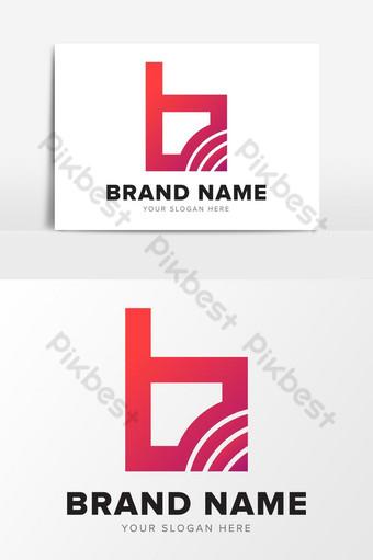 letra b, tecnología de red, abstracto, rojo, logotipo, diseño, elementos gráficos Elementos graficos Modelo EPS