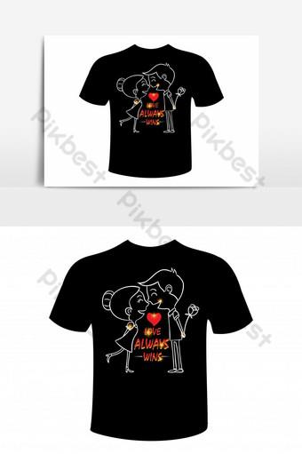 plantilla de diseño de camiseta basada en texto de amor Elementos graficos Modelo EPS