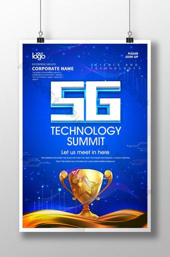 Poster ng klasikong asul na 5g na teknolohiya ng summit Template PSD