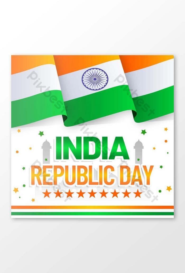 インド共和国記念日のミニマリストのソーシャルメディアの写真