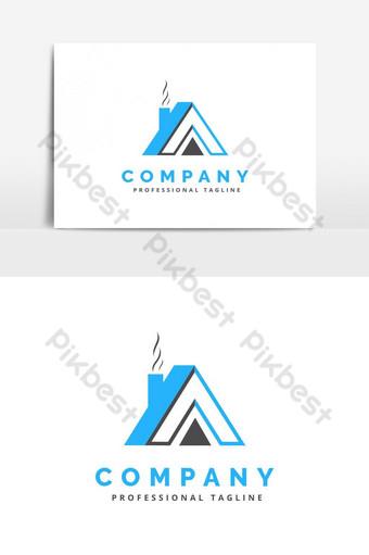 حرف تصميم شعار مع منزل يعكس صور PNG قالب AI