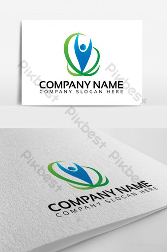 diseño de logotipo eco familia feliz Modelo EPS