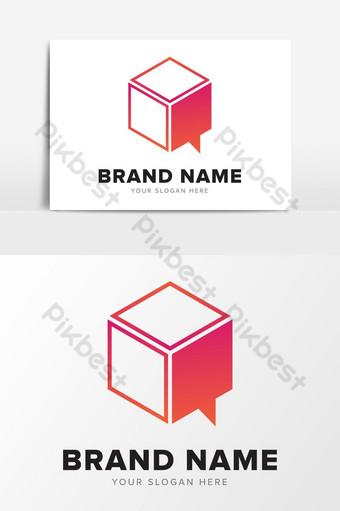 Resumen moderno rojo consultoría cubo hablar logo diseño elementos gráficos Elementos graficos Modelo EPS