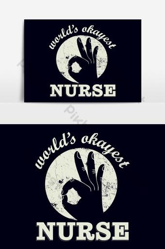كلمة s بخير ممرضة تي شيرت تصميم القالب صور PNG قالب AI