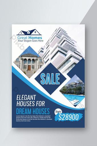 Maisons élégantes à vendre Flyers immobiliers Modèle PSD