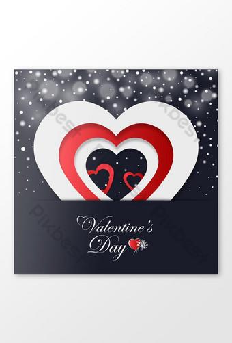 عيد حب سعيد بطاقة معايدة مع أشكال نصف قطع القلب قالب EPS