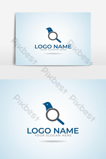 Classic Blue Search Bird logo design template graphic element PNG Images Template AI