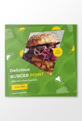 Delicious Burger Point Social Media Post Template PSD