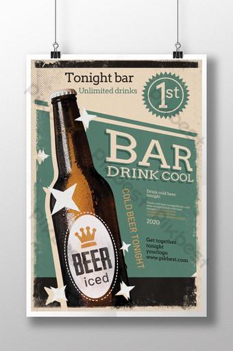 diseño de cartel de bebida de cerveza de bar retro Modelo PSD