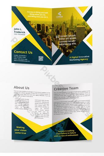 Modèle de page de couverture de magazine Creative Bi Fold Brochure Design Modèle AI