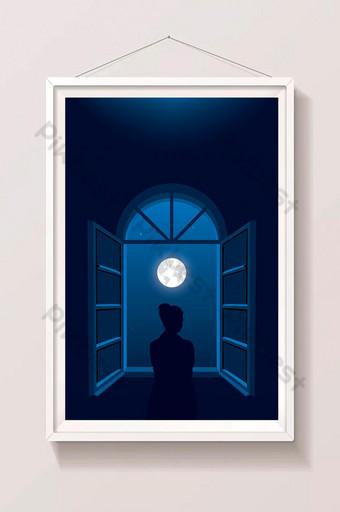 классика голубая луна свет ночь девушка у окна вертикальный пейзаж иллюстрация шаблон AI