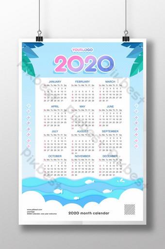 Conception de calendrier affiche coupe papier 2020 Modèle PSD