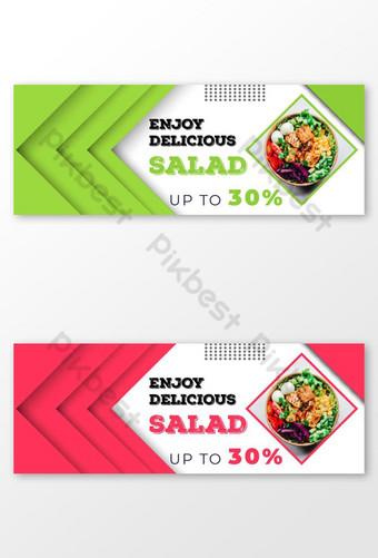 menikmati makanan lezat menawarkan posting media sosial dan sampul facebook Templat AI