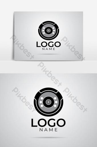 elemento gráfico de plantilla de diseño de logotipo de empresa de cámara de círculo negro Elementos graficos Modelo AI