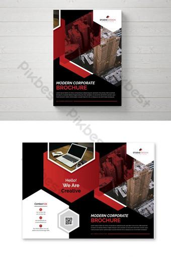 diseño de plantilla de folleto de negocios corporativos color rojo Modelo AI