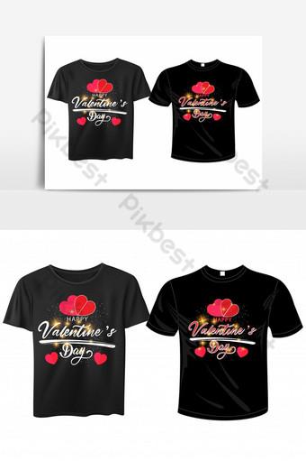 nueva plantilla de diseño de camiseta basada en texto de feliz día de san valentín ai Elementos graficos Modelo EPS