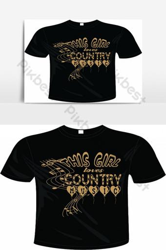 Gadis ini menyukai konsep desain kaos musik country Elemen Grafis Templat EPS